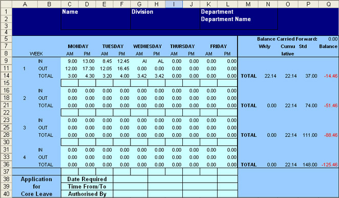 Excel flexi time spread sheet calculator – Monthly Timesheet Calculator